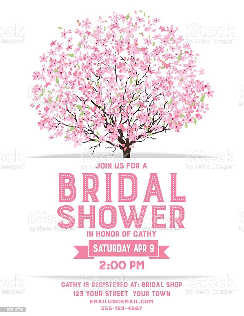 Bridal Shower Template With Cherry Blossom Tree vector art illustration