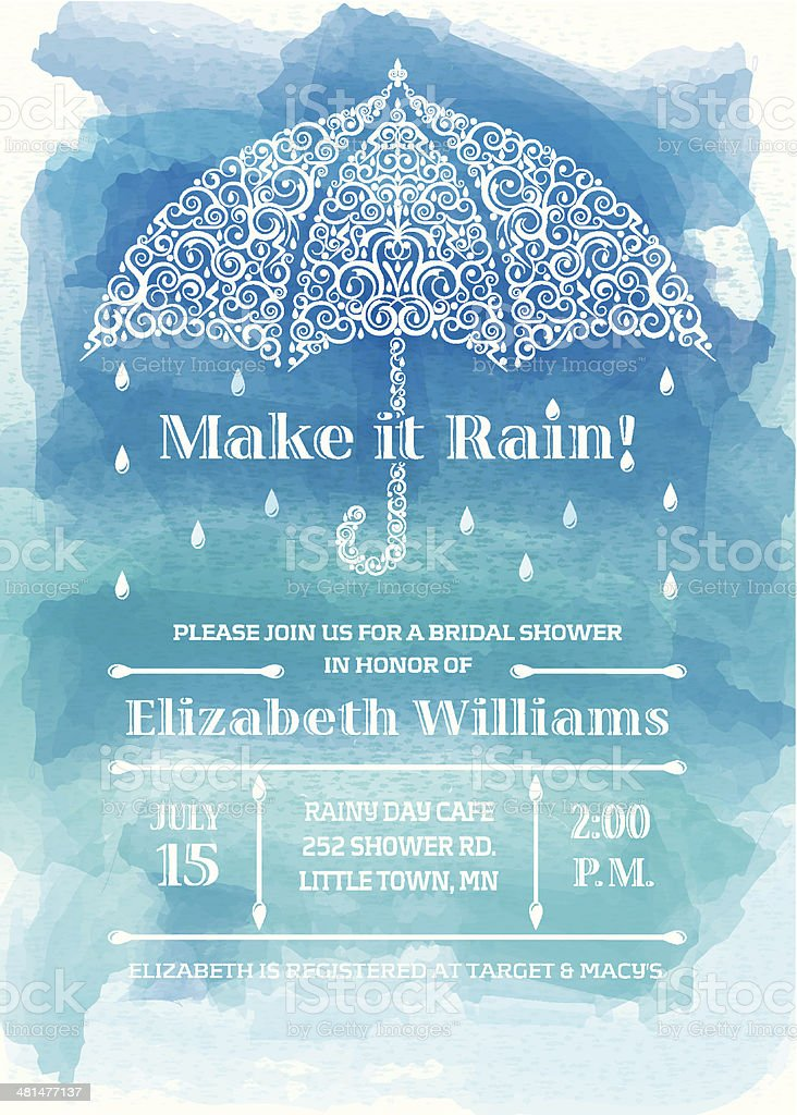 Bridal Shower Umbrella Invitation vector art illustration