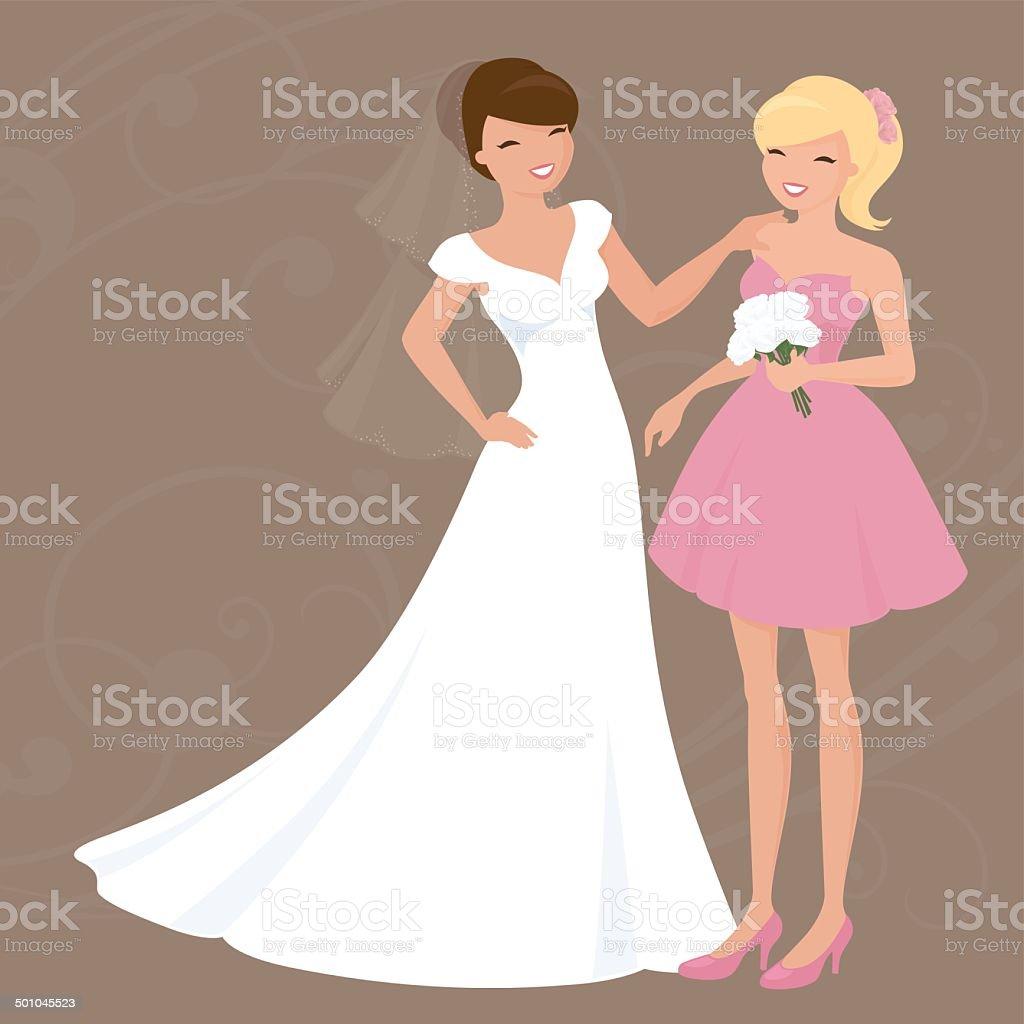 Bride and Bridesmaid vector art illustration