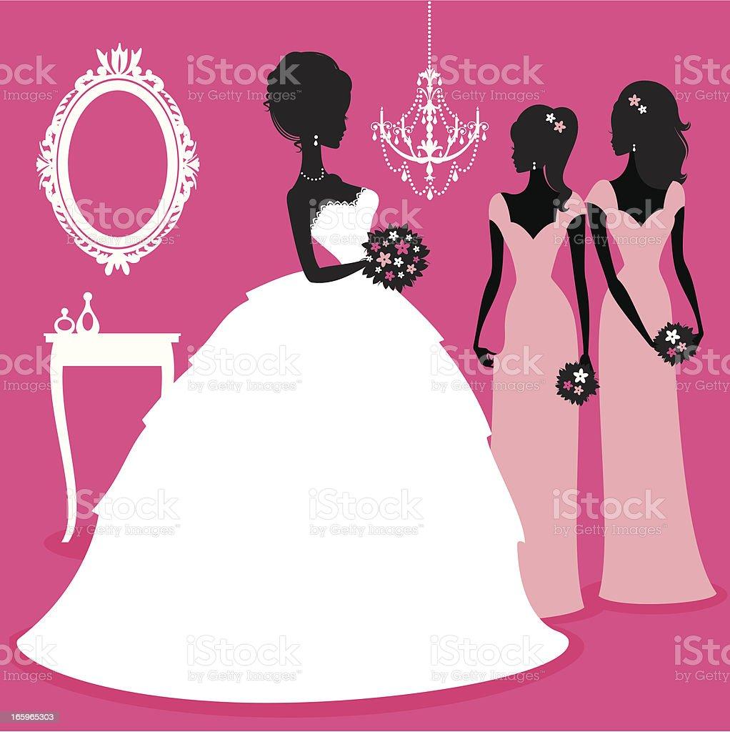 Bride and Bridesmaids vector art illustration