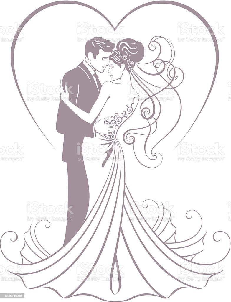 bride and fiance royalty-free stock vector art