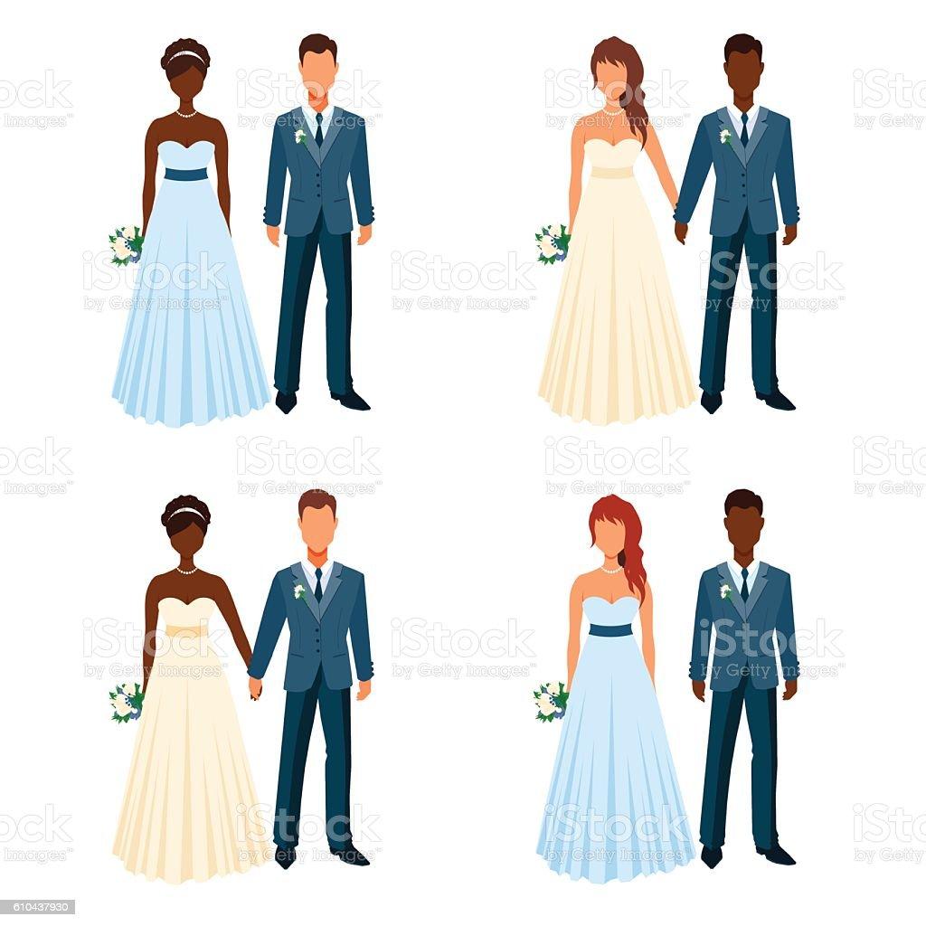Bride and fiancee holding hands. Wedding elegant couples set. vector art illustration