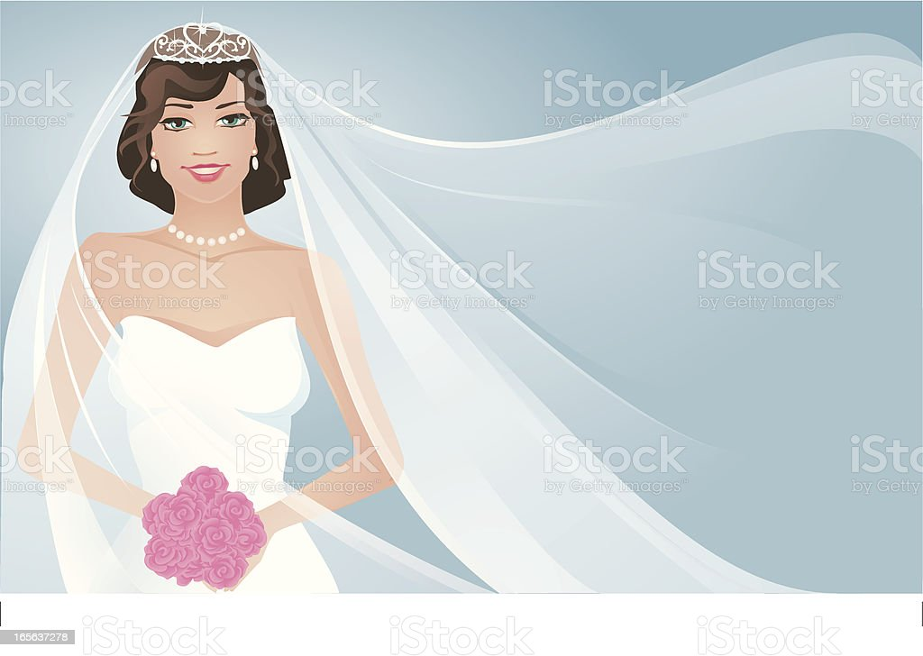Bride and Flowing  Veil vector art illustration
