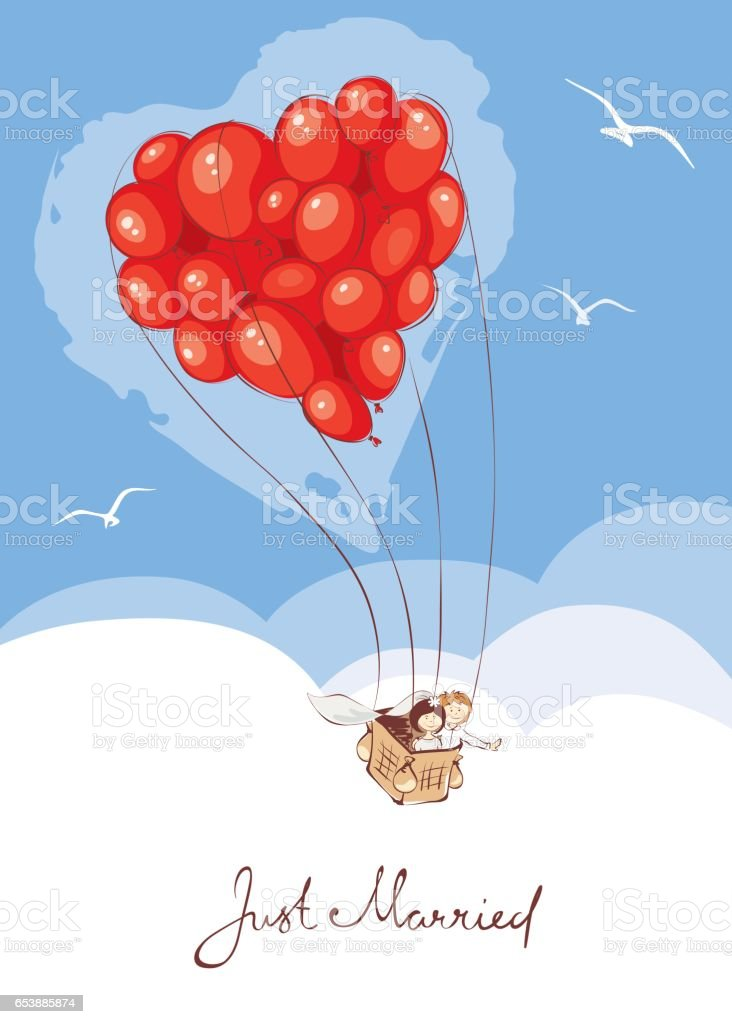 Bride and groom are leaving on a journey in a balloon vector art illustration