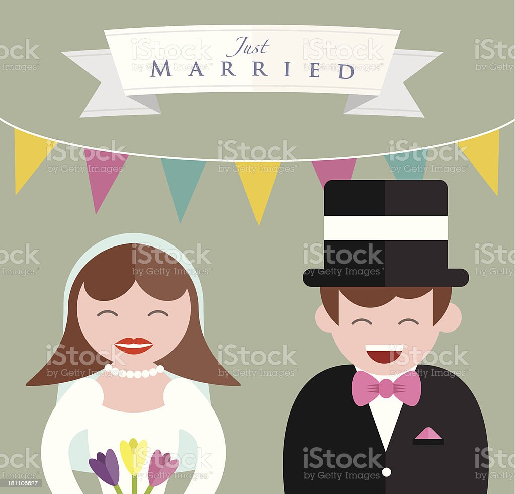 Bride and Groom close up royalty-free stock vector art