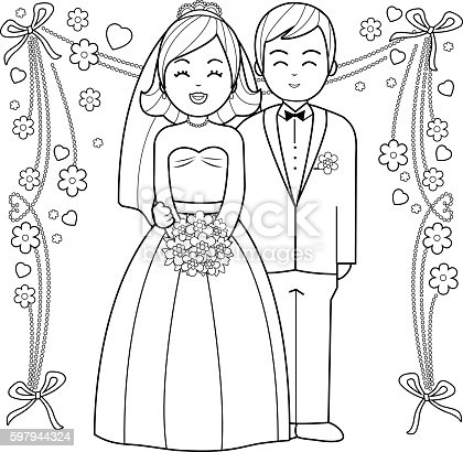 Bride and groom coloring book page stock vector art for Groom coloring pages