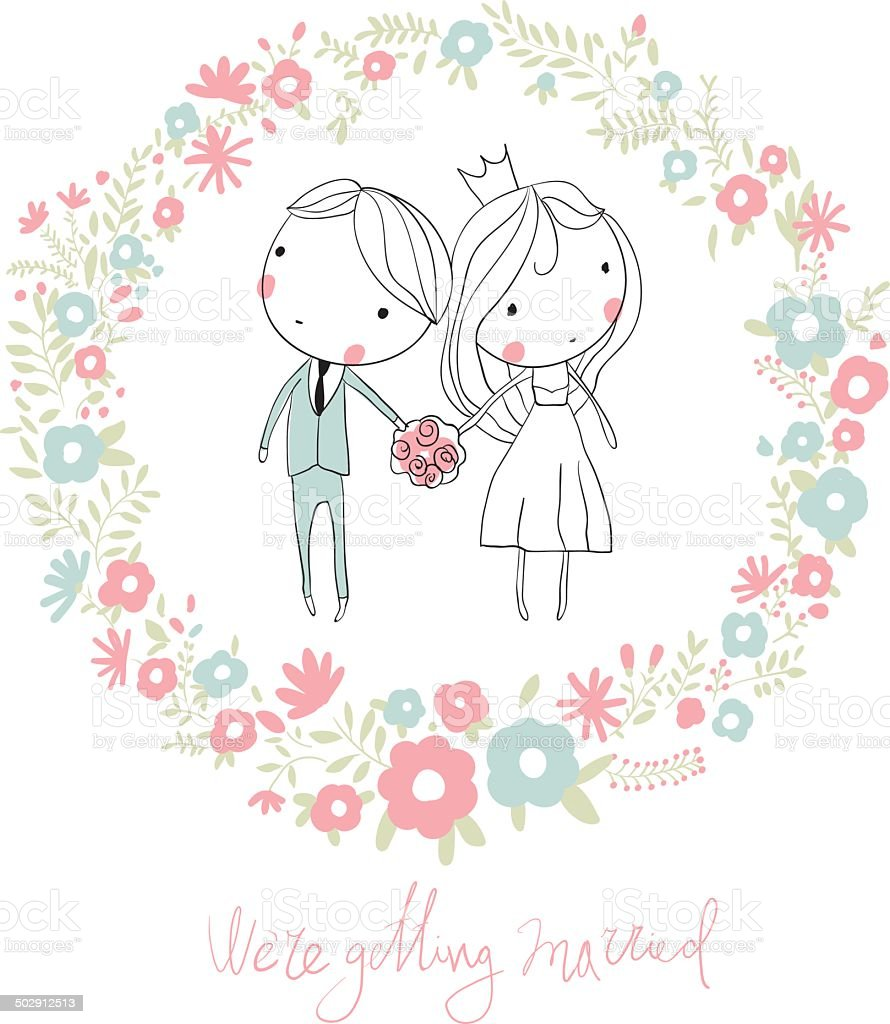 Bride And Groom Cute Vector Wedding Card With Flowers Stock Vector
