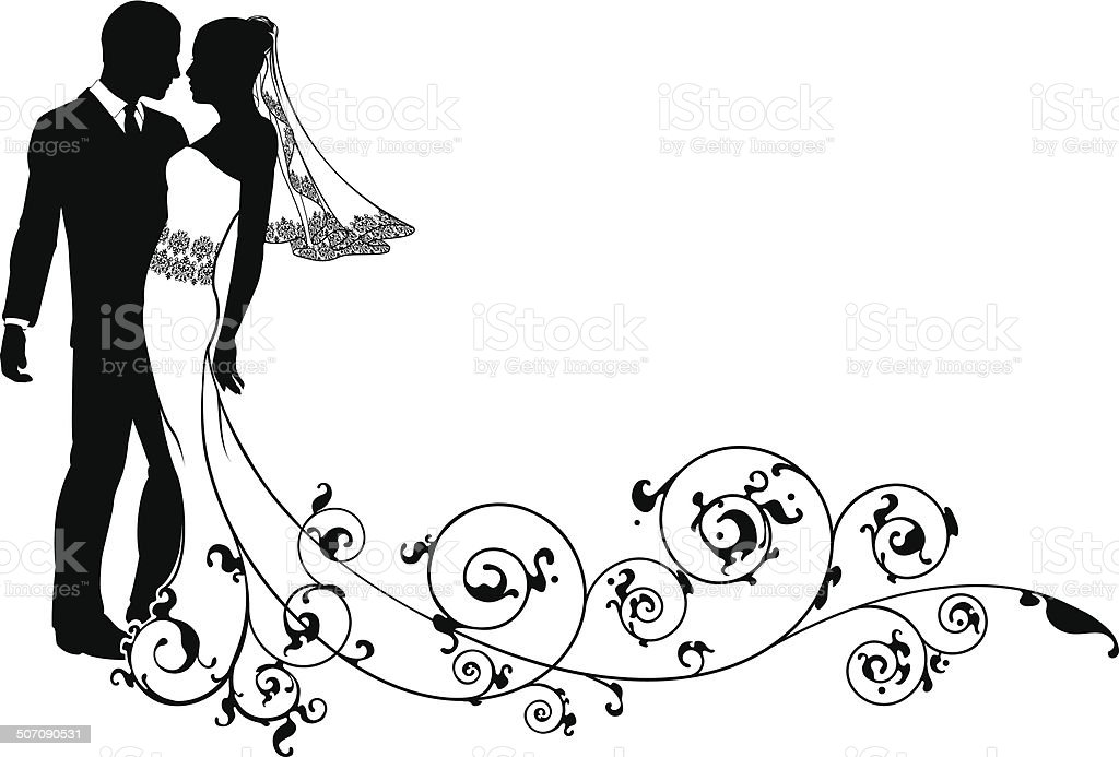Bride and groom floral design vector art illustration