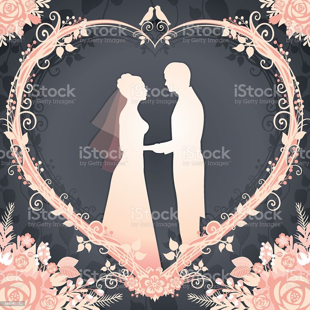 Bride and Groom framed in a floral wreath heart vector art illustration