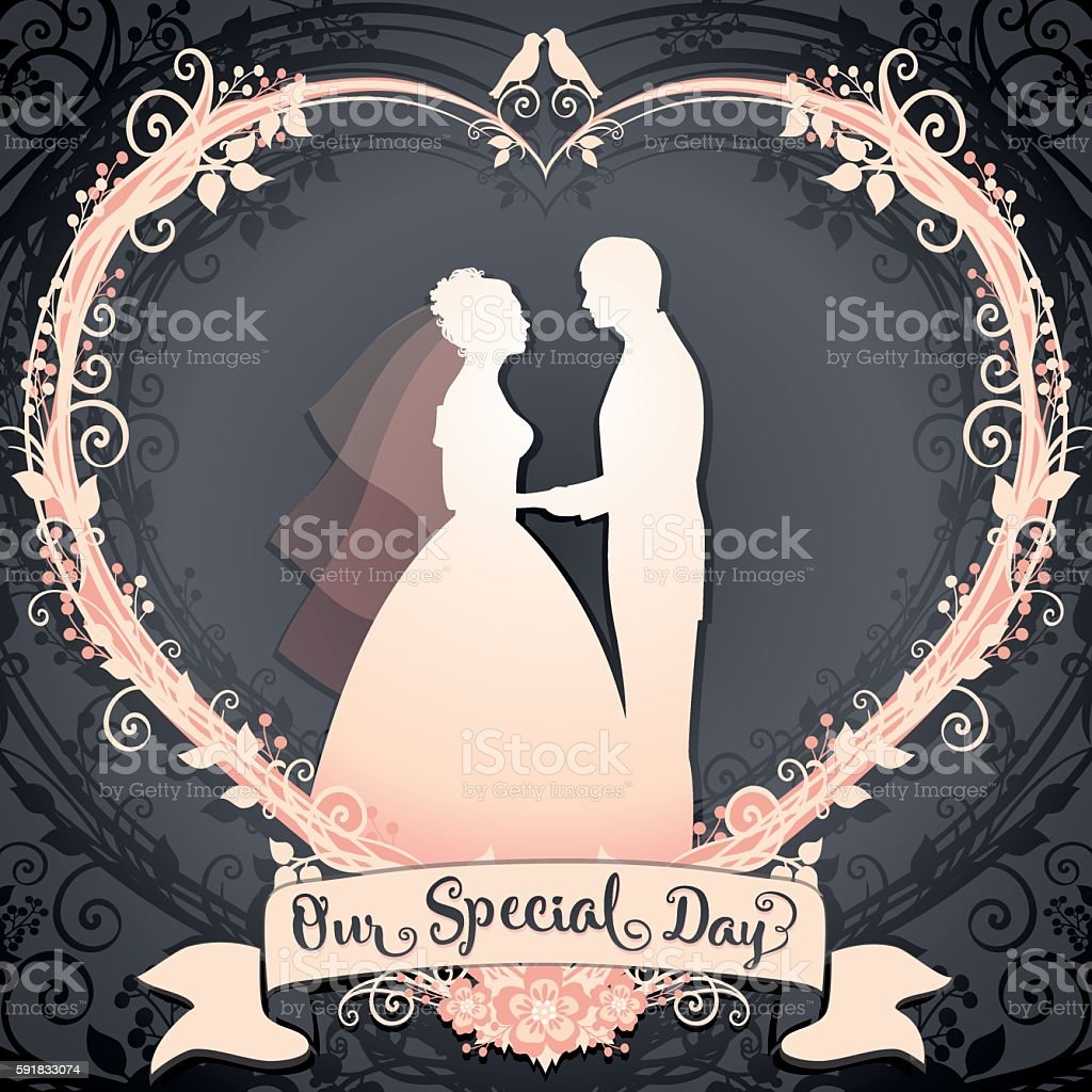 Bride and Groom framed in the floral wreath heart vector art illustration