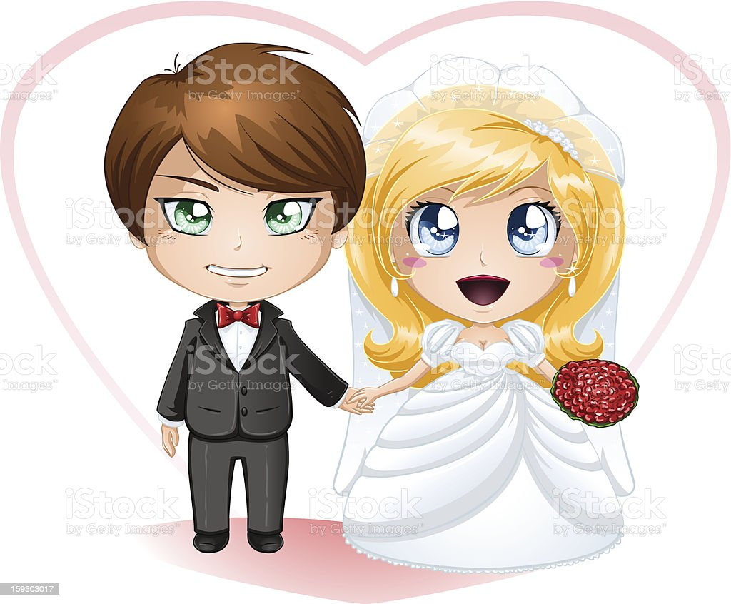 Bride and Groom Getting Married royalty-free stock vector art
