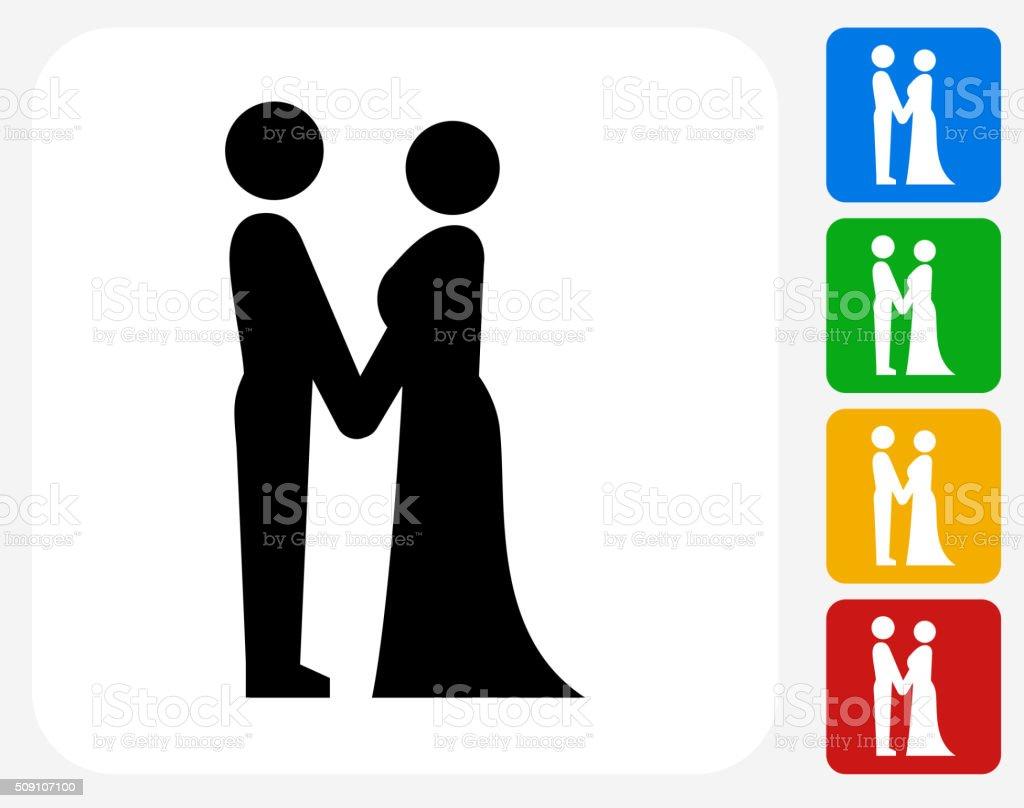 Bride and Groom Icon Flat Graphic Design vector art illustration
