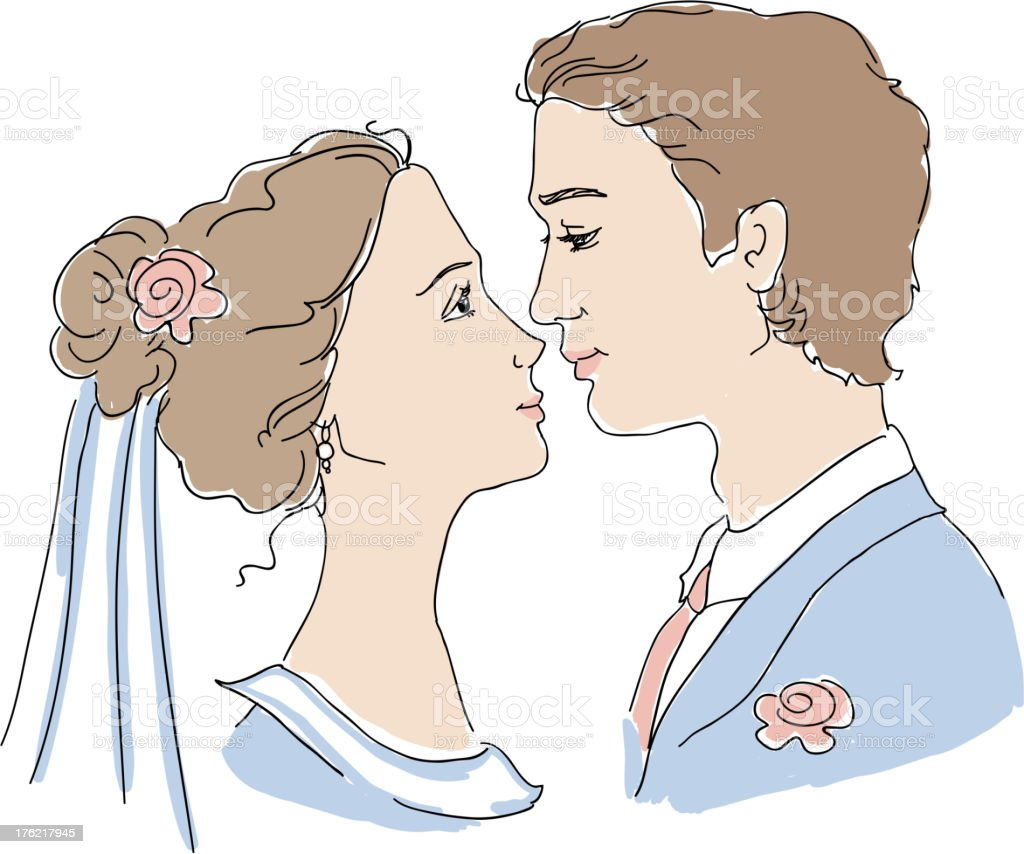 Bride and groom illustration royalty-free stock vector art