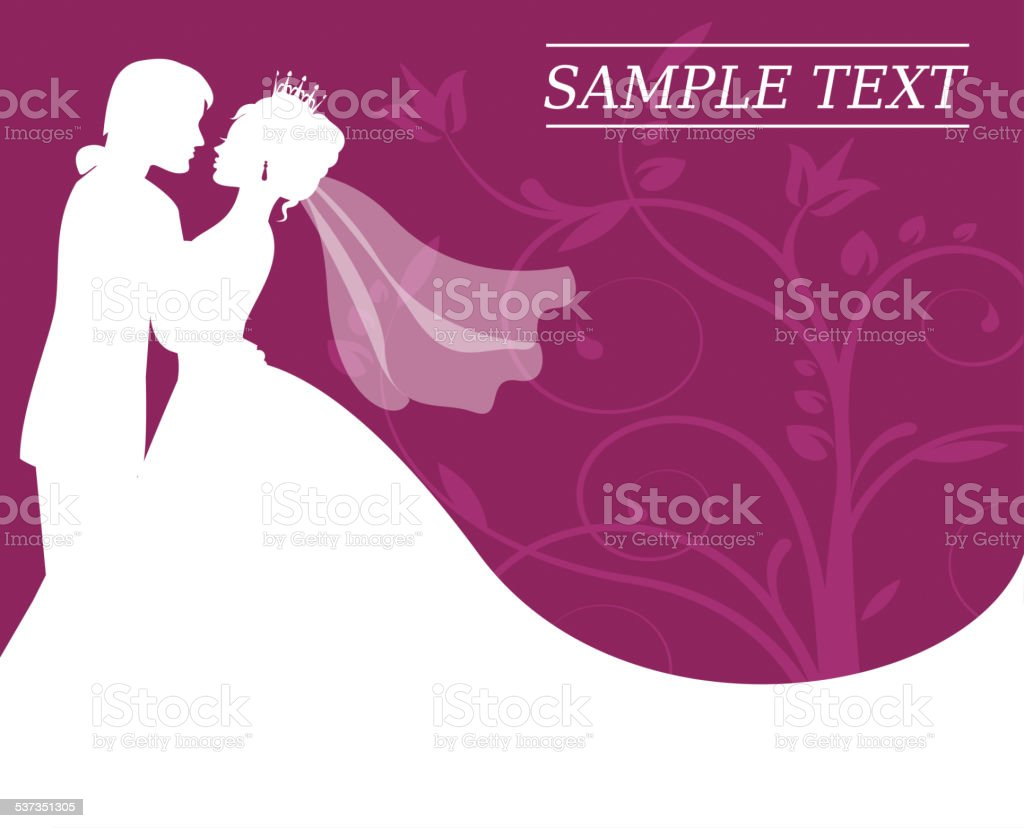 bride and groom on a burgundy background with swirls vector art illustration