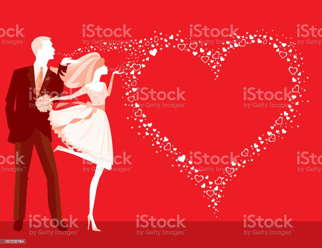 Bride and Groom Silhouette Blowing Kisses vector art illustration