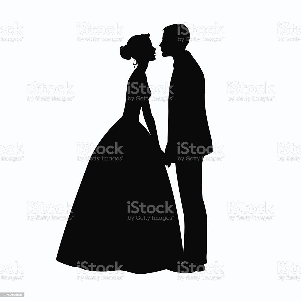 Bride and Groom Silhouette - Illustration vector art illustration