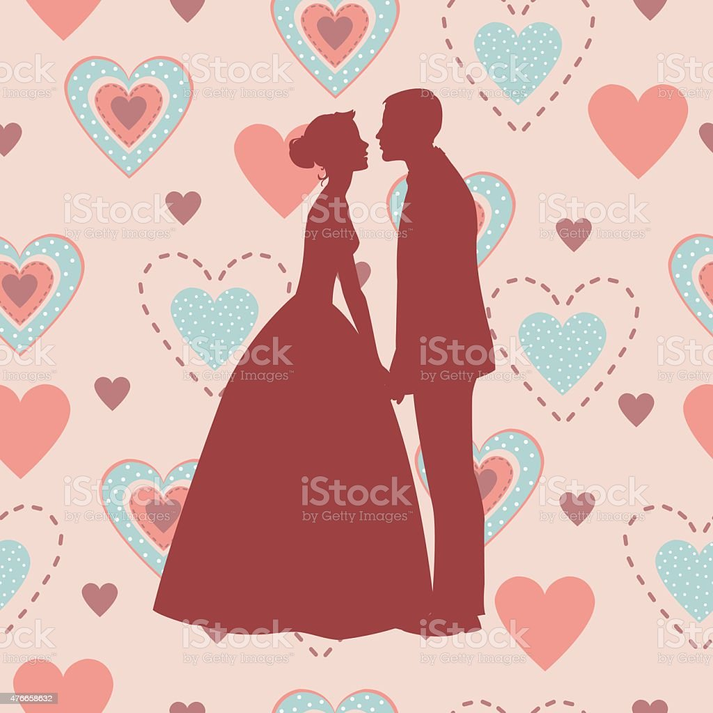 Bride and Groom Silhouette - Illustration royalty-free stock vector art