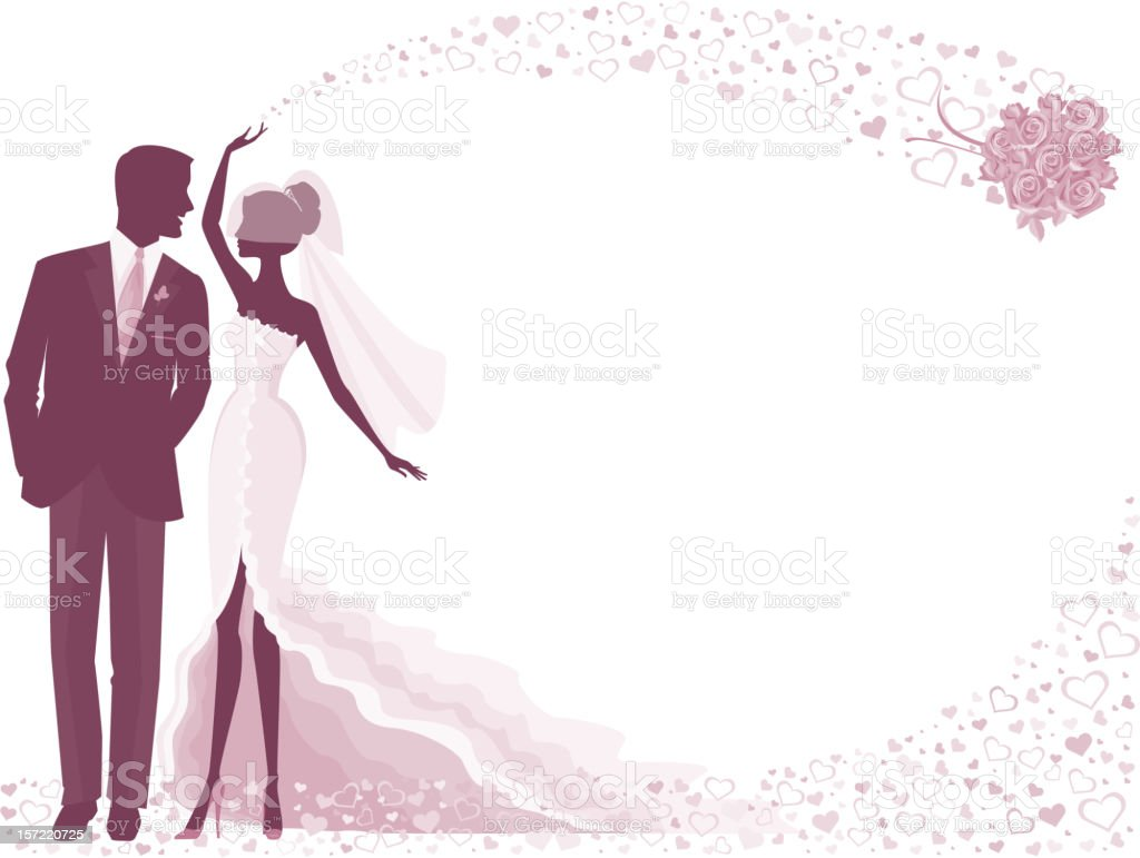 Bride and Groom Silhouette in Purple with Rose Bouquet vector art illustration