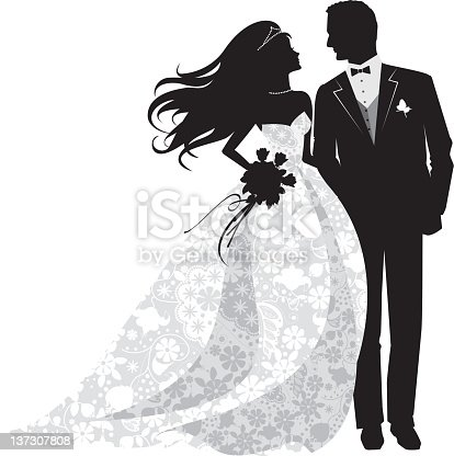 Bride And Groom Silhouette stock vector art 137307808 | iStock