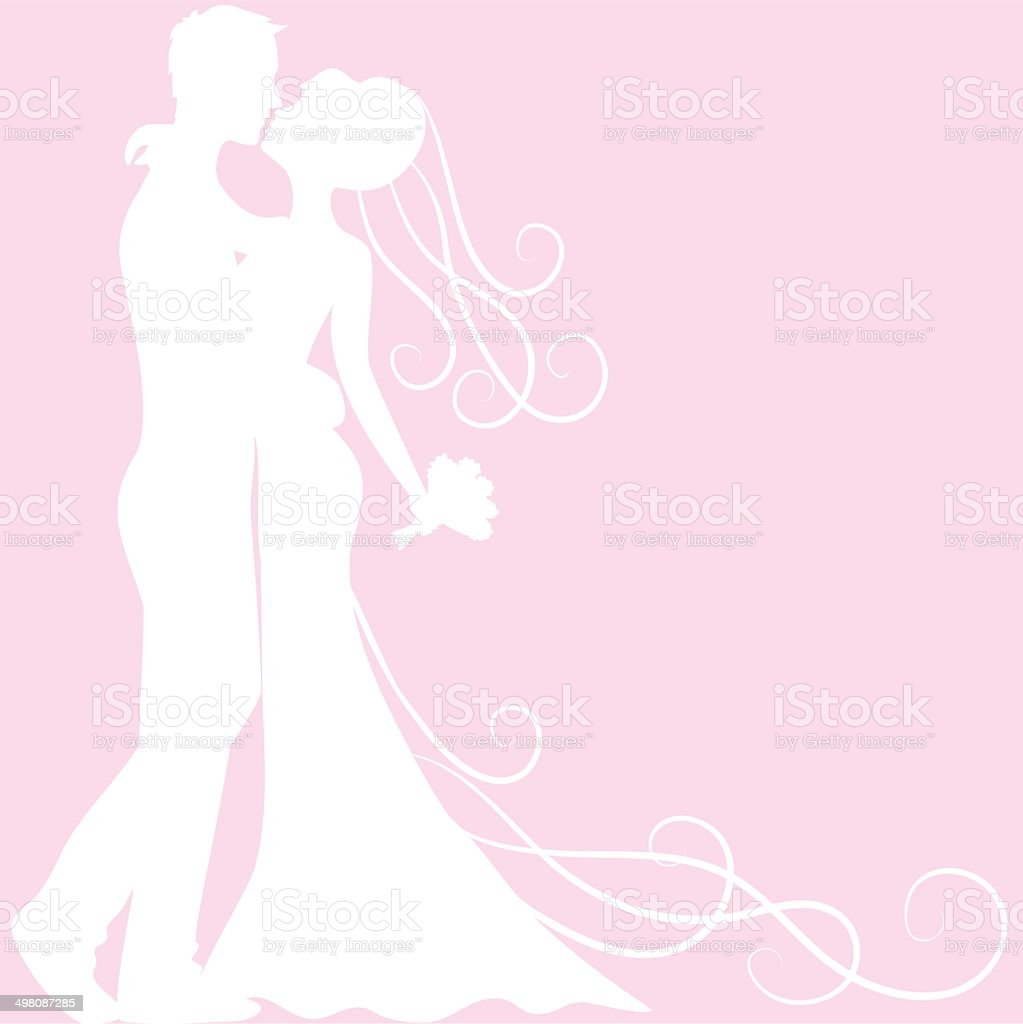 bride and groom silhouette royalty-free stock vector art