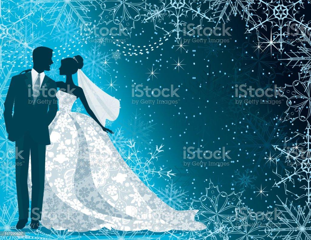 Bride and Groom Silhouette Winter Blue vector art illustration