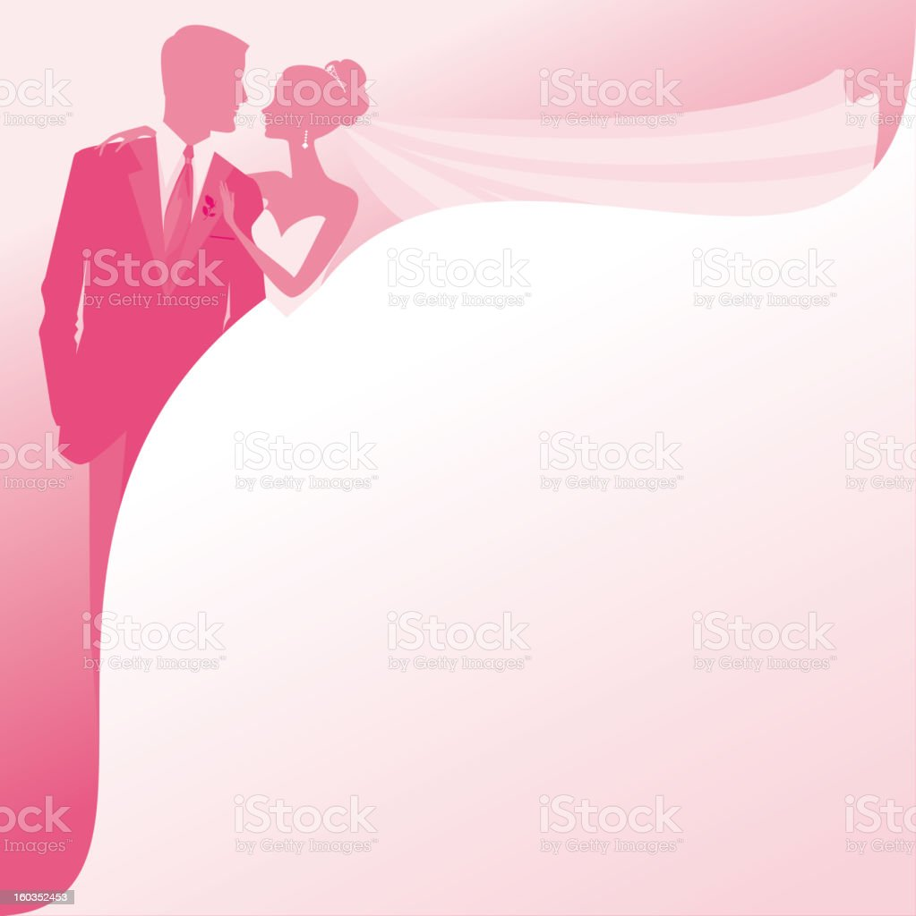 Bride and Groom Silhouettes in Honeysuckle Pink royalty-free stock vector art