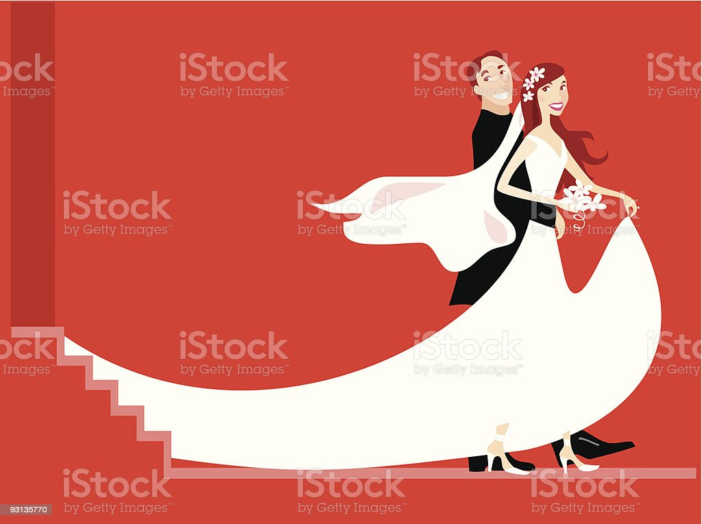Bride and Groom Stylized royalty-free stock vector art