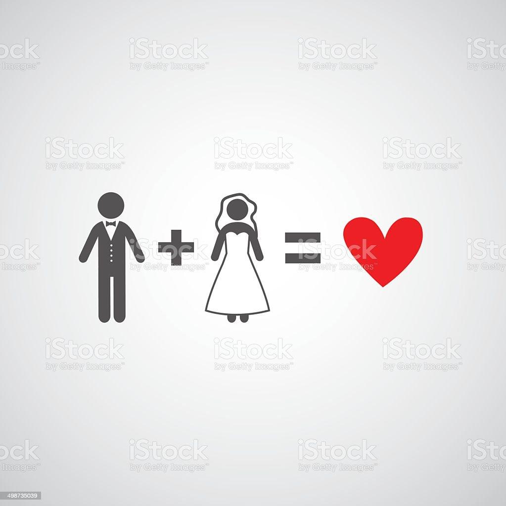 bride and groom symbol vector art illustration