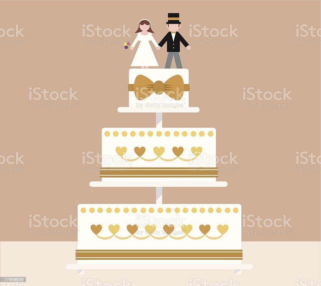 Bride and groom tier wedding cake royalty-free stock vector art