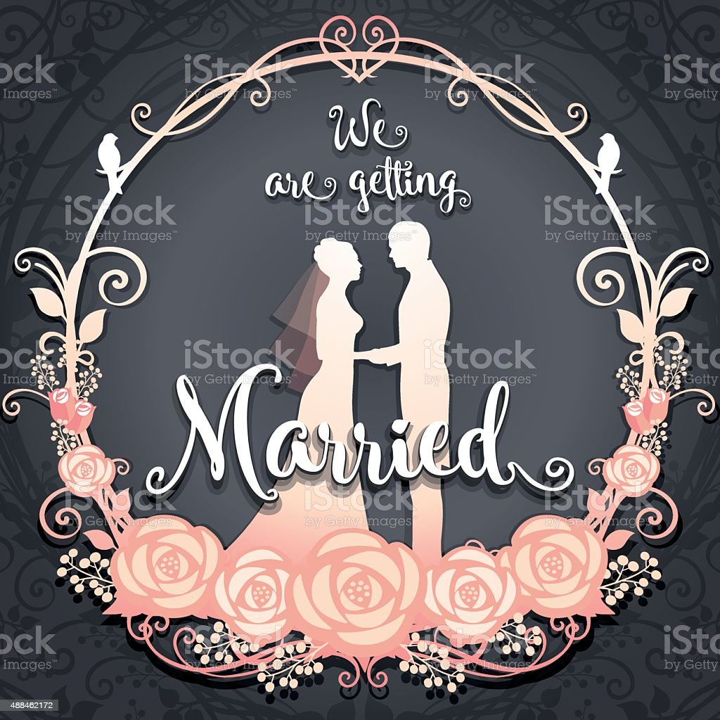 Bride and Groom. We are getting married vector art illustration