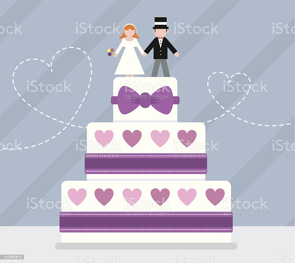 Bride and groom wedding cake royalty-free stock vector art