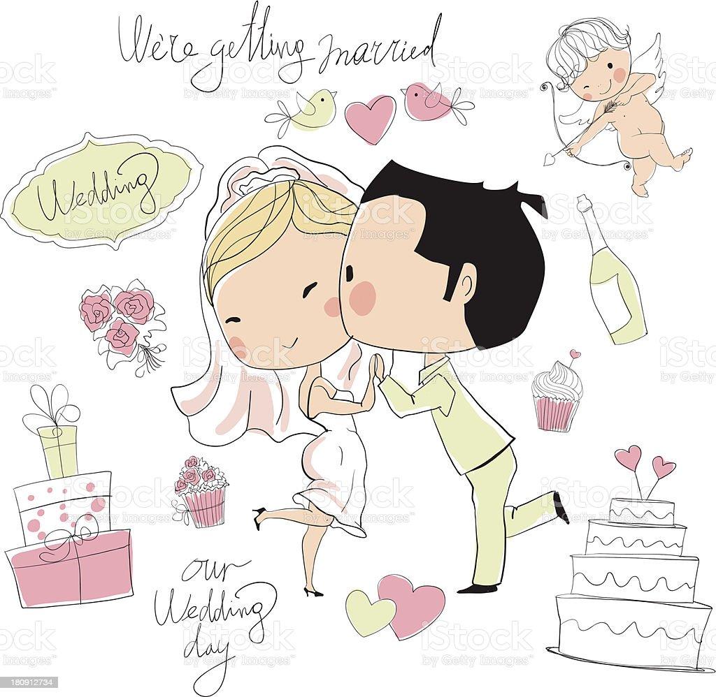Bride and groom wedding card design royalty-free stock vector art