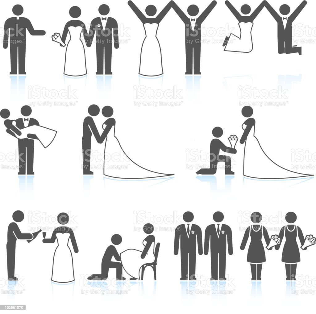 Bride and Groom Wedding Day black & white icon set vector art illustration
