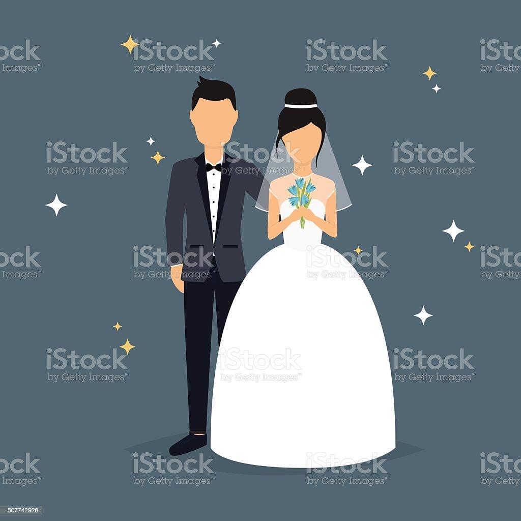 Bride and groom. Wedding design over grey background. V vector art illustration
