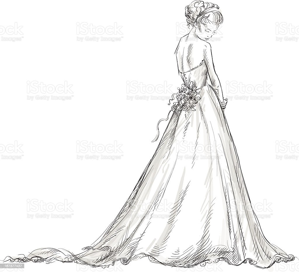 Bride. Beautiful young girl in a wedding dress. vector art illustration