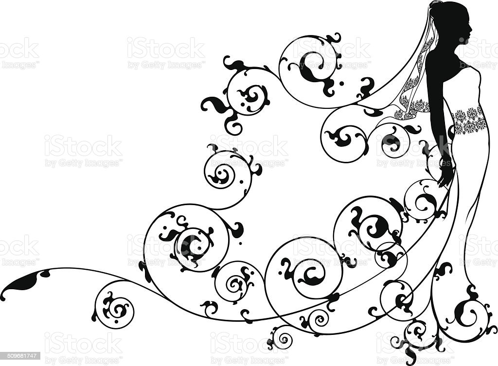 Bride bridal dress silhouette abstract vector art illustration