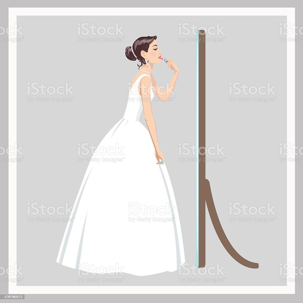 Bride corrects make-up royalty-free stock vector art