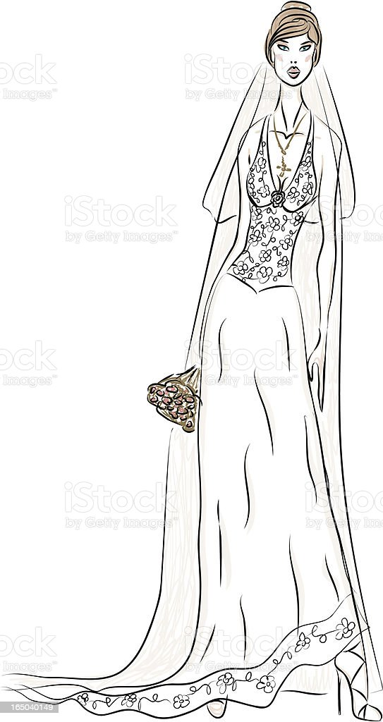 Bride Dress Sketch royalty-free stock vector art
