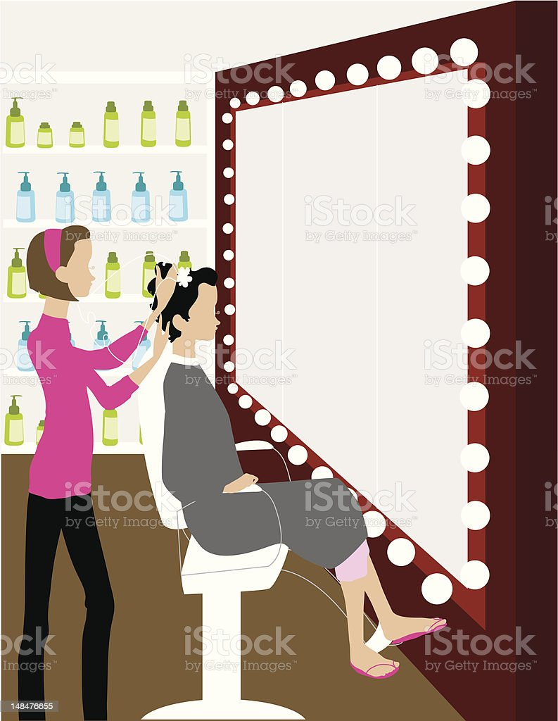 Bride Getting Her Hair Done royalty-free stock vector art