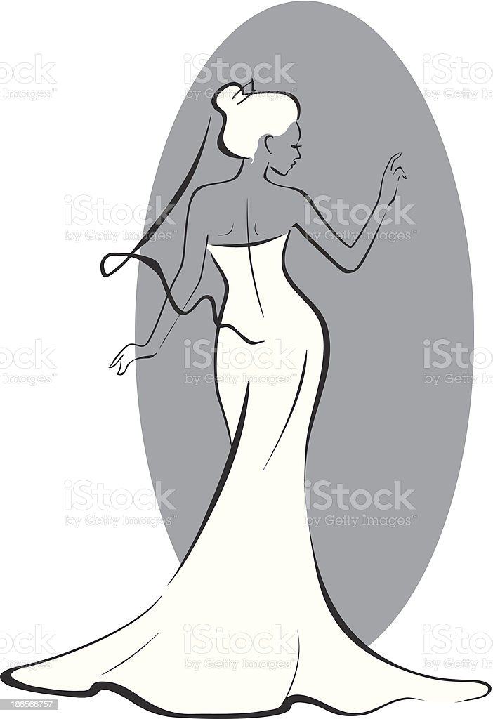 bride in front of the mirror vector art illustration