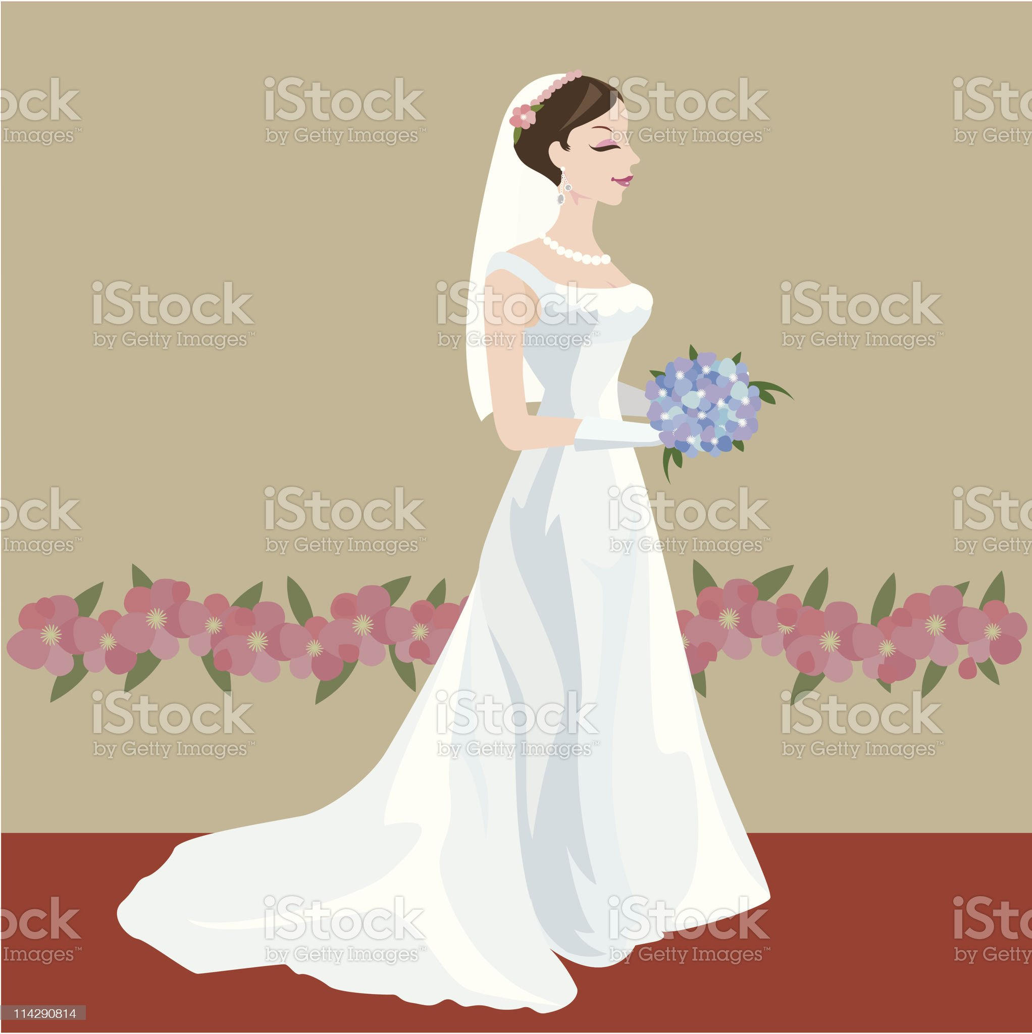 Bride in her wedding day royalty-free stock vector art