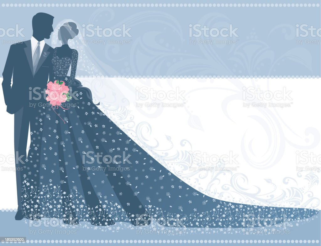 Bride in Lace Wedding Gown with Groom and Bouquet Silhouette royalty-free stock vector art