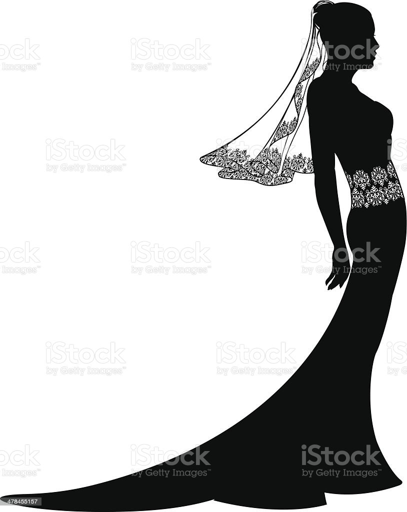 Bride in wedding dress silhouette vector art illustration