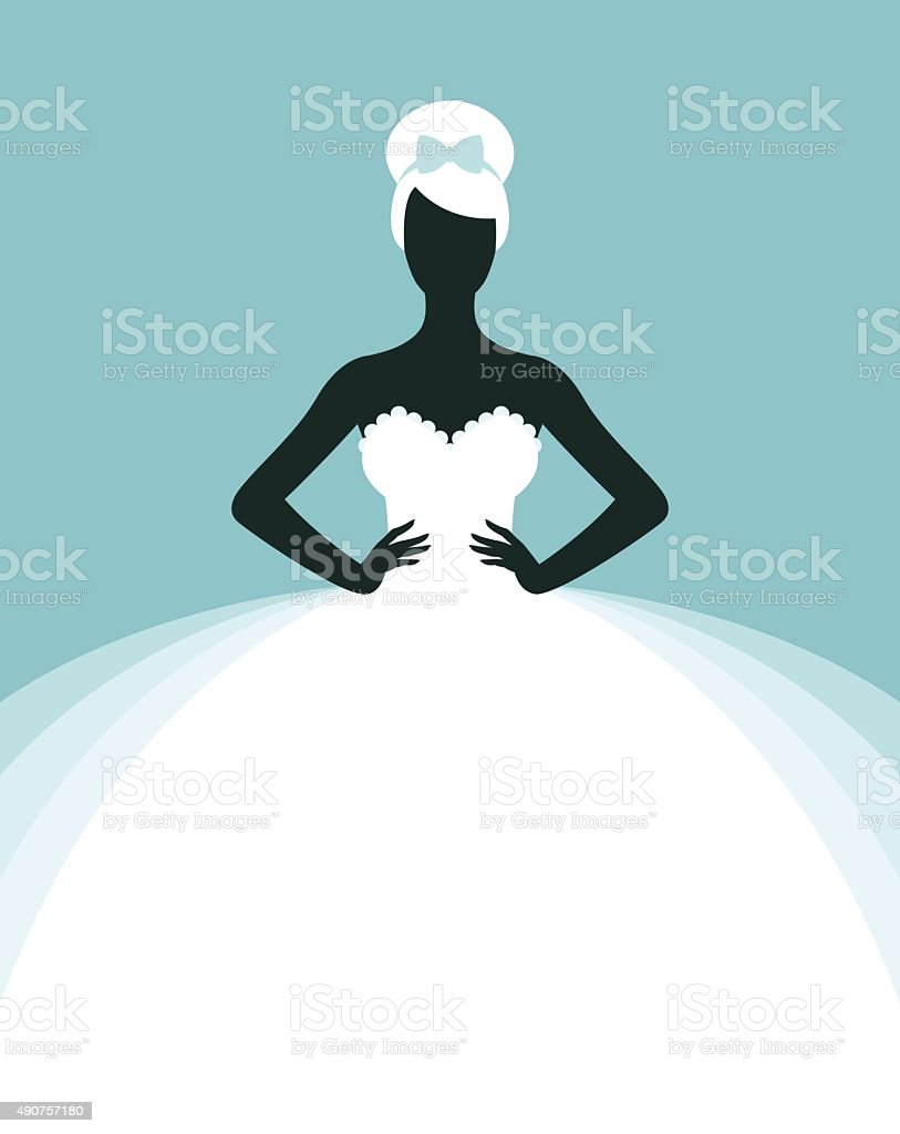 Bride in wedding dress vector art illustration