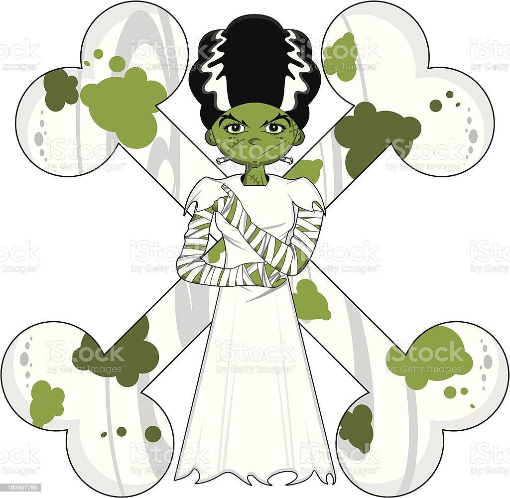 Bride of Frankenstein in Gown with Bones royalty-free stock vector art