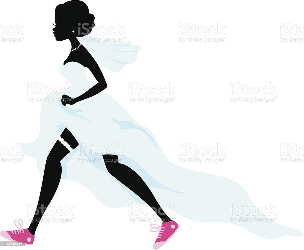 Bride Running Silhouette vector art illustration