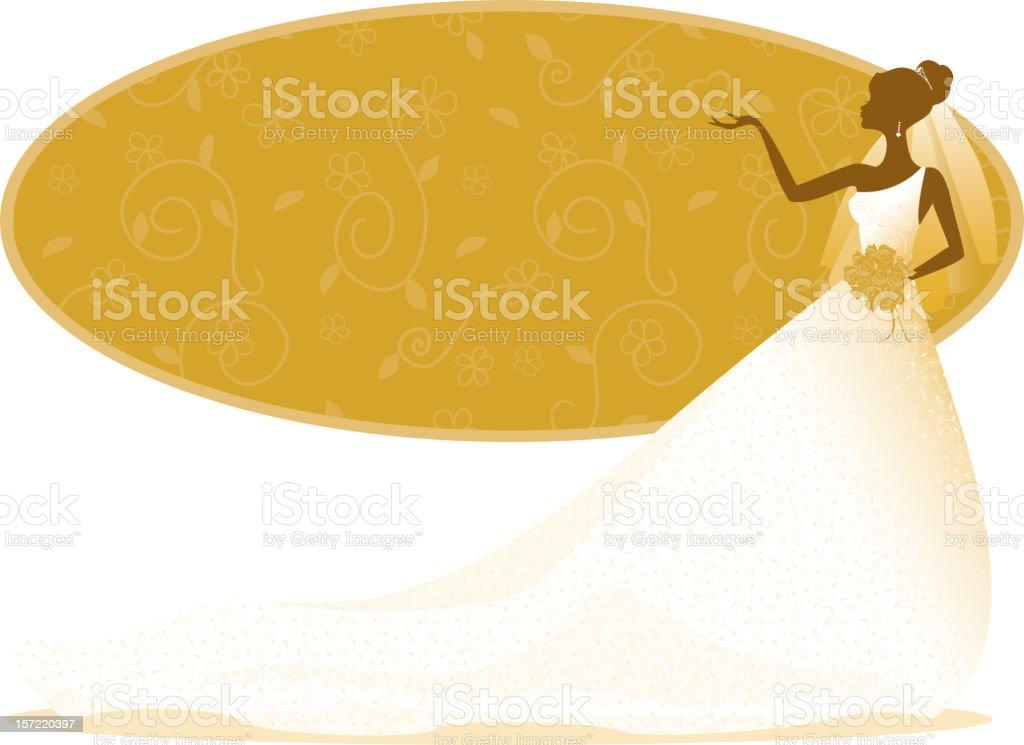 Bride Silhouette in Gold vector art illustration