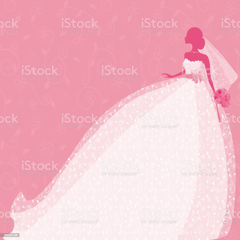 Bride Silhouette in Pink vector art illustration