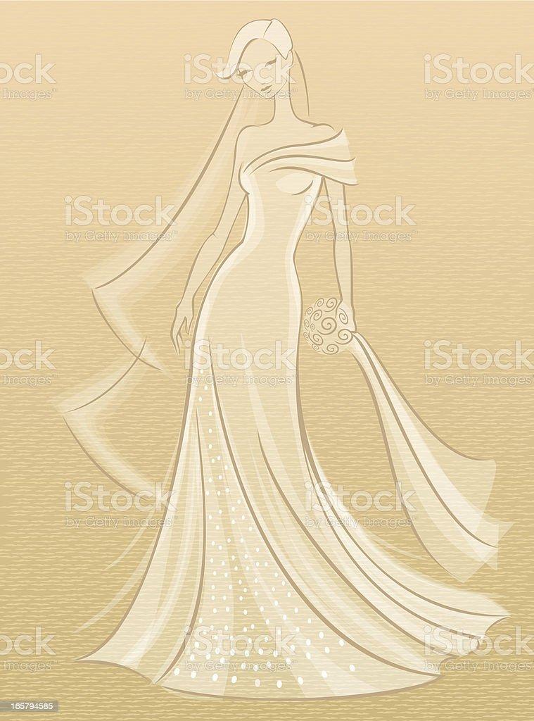 Bride Sketch vector art illustration