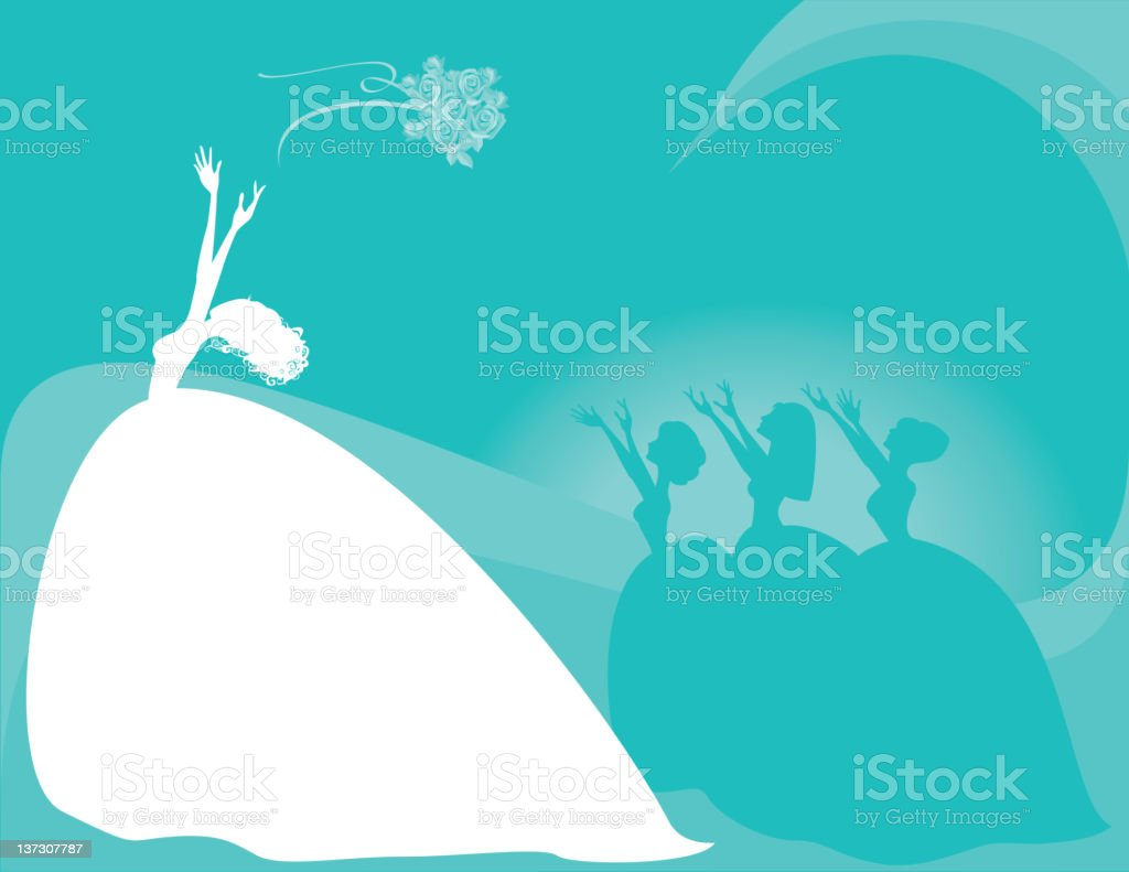 Bride Throwing Bouquet to Bridesmaids, Silhouette vector art illustration